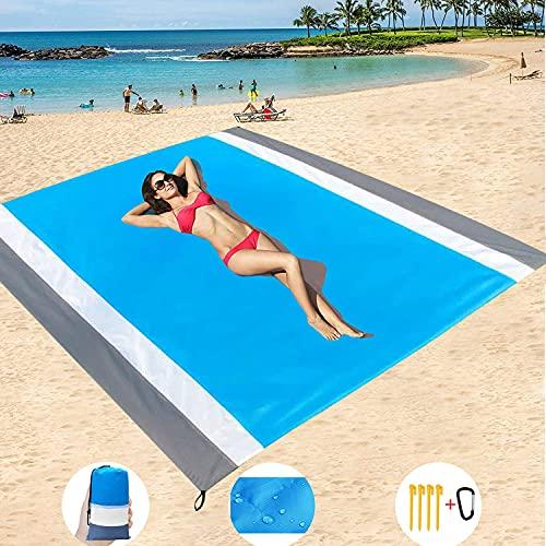Alfombras de Playa,82.67*78.74 Inch Toalla Playa Gigante,Manta Picnic Anti-Arena Impermeable,Manta de Playa al Aire Libre para Acampar,Parque,Yoga,Senderismo,Viajes-Poliéster Ligero portátil