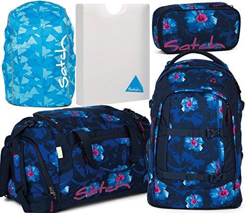 Satch Pack Waikiki Blue 5er Set Schulrucksack, Sporttasche, Schlamperbox, Stylerbox & Regencape Blau