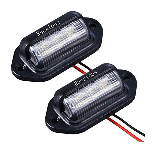 Paquete de 2 matrículas de LED Lámpara de luz de la lámpara, Ruesious Conveniencia de cortesía Lámparas de paso de la lámpara de luz para remolques, RV, camiones y barcos Etiquetas de licencia