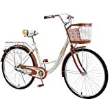 26 Inch Classic Bicycle, Beach Cruiser Bicycle,Retro Bike Comfort Bicycle Commute Body Ease Women's...