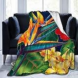 NiYoung Throw Blanket Personalized Floral Bird Tropical Paradise Hawaii Ultra-Soft Micro Fleece...