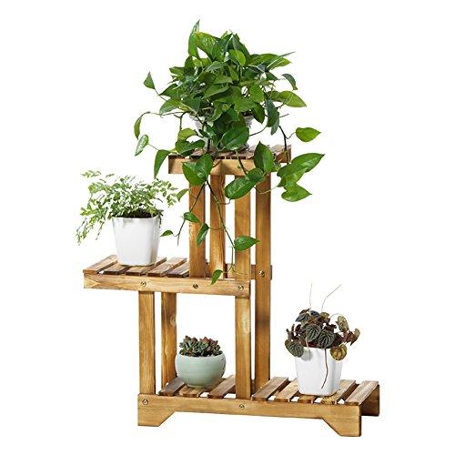 Qi Peng Support de fleurs en bois massif anti-corrosion, support de pot de fleurs grand, cadre de bonsaï multicouche pour balcon intérieur Etagère
