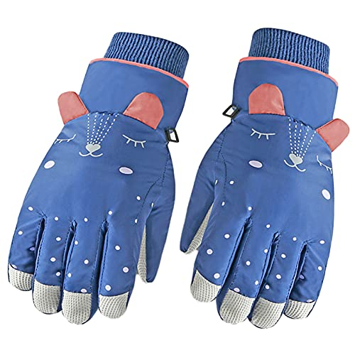 Nlager Kids Snow Thermal Gloves Knitted Fabric Ski Gloves Windproof Breathable Cartoon Pattern Thermal Skin-Friendly Kids Athletic Gloves for Winter Blue2