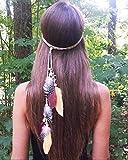 Simsly Diadema bohemia con plumas hippie indias de los años 20 con cadena de plumas para la cabeza de la cadena para el pelo, accesorios para la joyería tocado para mujeres y niñas