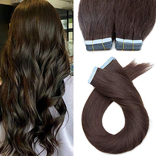 20 Pcs Extension Bande Adhesive Cheveux Naturel Mèches Fines (1.5g/pcs) #2 CHATAIN FONCE - 40 cm (30 g) - Rajout Vrai Cheveux Humain Adhesif