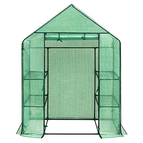 WOLTU GWH00202gn Serre de Jardin PE pour légumes avec Porte, Vert, 143x73x195cm