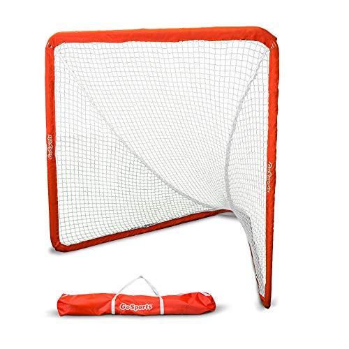 GoSports Regulation 6' x 6' Lacrosse Net with Steel Frame - The Only Truly Portable Lacrosse Goal for Kids and Adults, Backyard Setup in Minutes, Red
