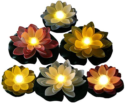 ARDUX 6 Piezas de Espuma Flotante de Flor de Loto Que Cambia de Color Artificial, luz de Lirio Flotante de Agua para centros de Mesa, estanques, Piscinas, peceras, paisajes