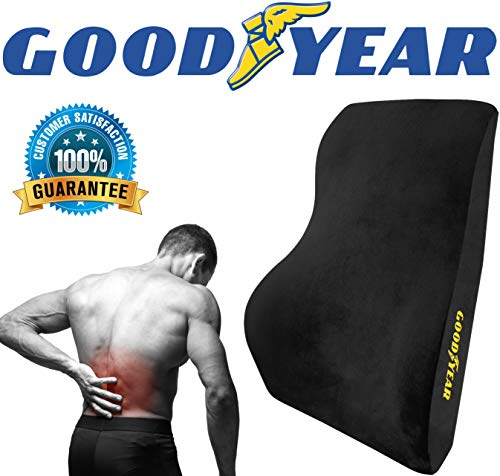 Goodyear GY1015  Full Size Back Support Pillow for Office Chair or Car / SUV  Helps Relieve Pain  100% Pure Memory Foam  Improves Posture  Fits Most Seats  Premium Soft Plush