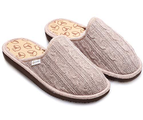 Estro Hausschuhe Damen Pantoffeln Warme Schlappen mit Wolle ec1 (Beige, Numeric_41)
