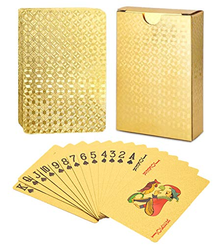 Armear Waterproof Luxury 24K Gold Foil Poker Playing Cards with Box,Good Gift Idea