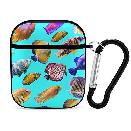 AirPods Kofferhülle mit Schlüsselbund, mehrfarbige Fische auf blauem Hintergrund Tragbare & schützende Hartschalenhülle für Airpods 2 & 1 für Männer Frauen