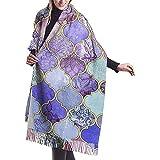 Bufanda De Cachemir,Invierno Larga Mantón,Pashminas Para Mujer,Pañuelos,Azulejo Marroquí Índigo Malva Púrpura Real Mujeres Hombres Pashmina Cálida,Manta De Bufanda Suave,Bufandas Envueltas