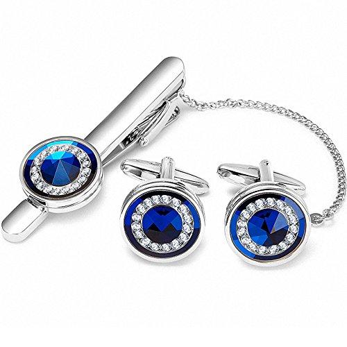 BagTu Blue Crystal Tie Clip Manschettenknopf Set in schwarzer Geschenkbox
