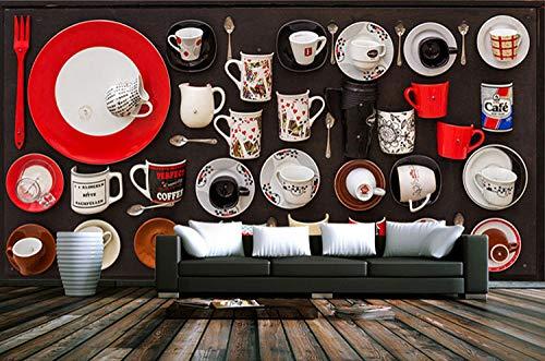 XQFZXQ Wandgemälde Moderne minimalistische Kaffeetasse und Teeservice Selbstklebend PVC 3D Wandgemälde Fernseher Hintergrund Wohnbereich Kinderzimmer Thema Hintergrund Junge Mädchen Ka(B)400x(H)280cm