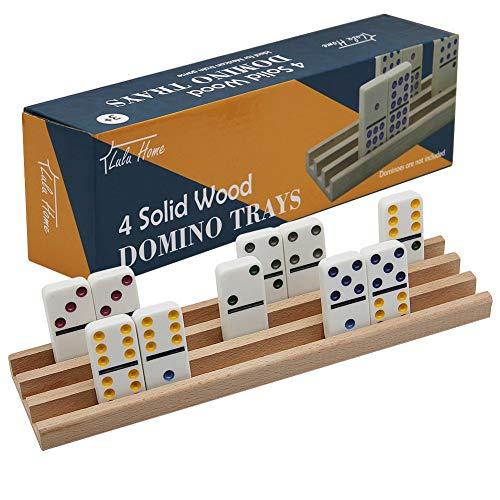 Wooden Domino Racks Trays Holders Organizer(Set of 4) - Premium Domino Tiles Holder Racks for Mexican Train Dominoes Games
