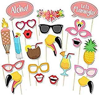 21PCS Hawaii Beach Holiday style photo booth props Flamingo Fruit juice, straw hat, sunglasses etc