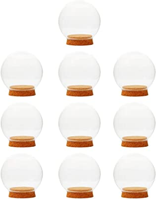 Glass Cloche Globe Clear Glass Ball Shaped Cover Succulent Terrarium Bottle,