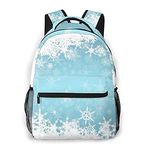 Mochila casual duradera Frozen Silver Snowy Christmas Adult College Shoulder Travel Bag