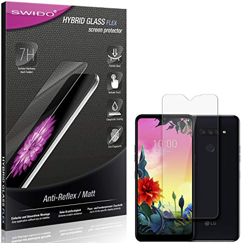 SWIDO Panzerglas Schutzfolie kompatibel mit LG K50s Bildschirmschutz Folie & Glas = biegsames HYBRIDGLAS, splitterfrei, MATT, Anti-Reflex - entspiegelnd