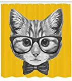 ABAKUHAUS Animal Rideau de Douche, Chat Chaton Bébé Hipster, Résistant à l'eau, Haute qualité, avec 12 Anneaux, 175 x 180 cm, Moutarde Grise