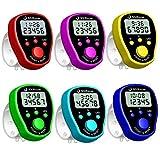 YEZIB Contador de Tally a Mano, 6 Colores Dedo Counter Reloj LCD Electronic Digital Tally Contadores con retroiluminación de Tiempo para Fila, Gente, Golf, Regazo y Tejido.