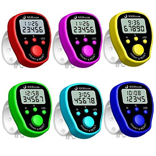 yaohuishanghang Podómetro 6 Colores Dedo Counter Reloj LCD Electronic Digital Tally Contadores con retroiluminación de Tiempo rastreador de Pasos