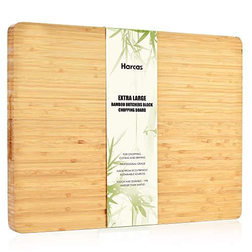 Planche à découper extra large en bambou par Harcas. Planche à découper bio de qualité supérieure, 45 x 34 x 3 cm Bambou de qualité professionnelle.