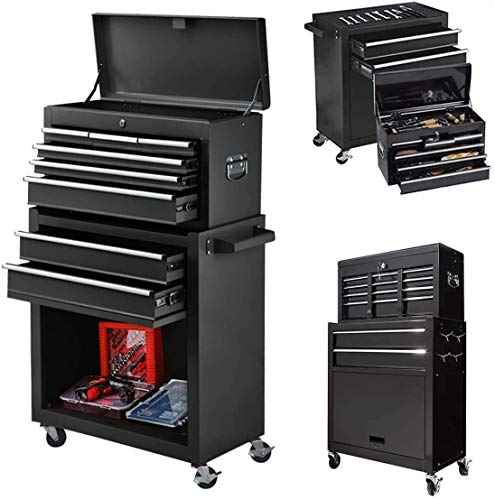 8-Drawer Big Tool Chest Of Thick Steel, 2 in 1 Detachable Rolling Tool Chest with Wheels, Removable Tool Box Organizer & Tool Box with Drawers and Lock for Mechanic Garage, Warehouse (Cool Black)
