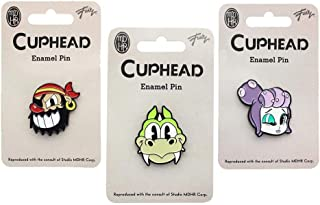 Cuphead Enamel Collector Pin Set of 3 with Mermaid, Pirate and Dragon Boss