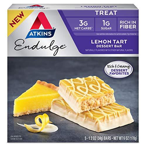 Atkins Endulge Treat Tart Dessert Bar, 1.2 Oz (Pack of 5), Lemon, 1 Count