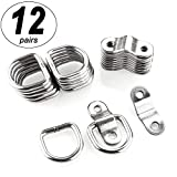 CenterZ 12 Pack Tie Down Rings with Mounting Brackets, Heavy Duty Stainless Steel Lashing Ring D-Ring Anchor Point, 1/4' Surface Mount for Trailer Truck Hauling, Cargo Load, RV Pickup Camper and Boat