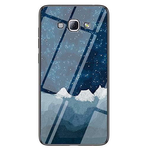 Capa XYX compatível com Samsung A8 2018, [parte traseira de vidro temperado] Capa fina leve com estampa de céu estrelado para Samsung Galaxy A8 2018 SM-A530 (tecido de xadrez estrela)