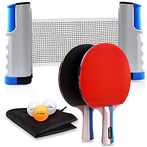 JOYJ Raquetas de Tenis de Mesa con Red, 2 Raquetas + 3 Bolas Pelotas de Tenis de Mesa + 1 Red Retráctil + 1 Bolsa de Viaje, Juego de Tenis de Mesa Portátil