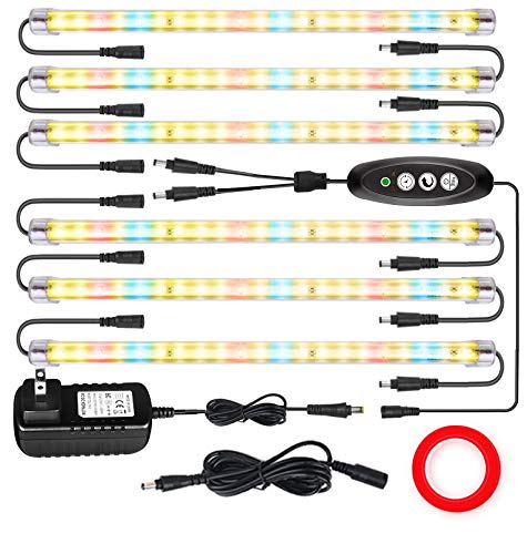 LED Plant Grow Lights Strips for Indoor Plants Full Spectrum with Auto ON & Off Timer, T5 Sunlike Grow Lights Bar Growing Lamps for Greenhouse Shelves Hydroponics Succulent, 4 Dimmable Levels