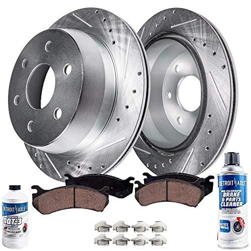 Detroit Axle - Pair (2) Rear Drilled Slotted Rotors w/Ceramic Brake Pads, Hardware & Brake Cleaner & Fluid for 14-19 Escalade ESV, Silverado, Sierra 1500, Suburban, Yukon, Tahoe - See Fitment