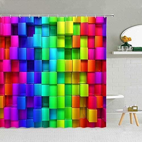 Regenbogen Farbe 3D geometrisches Muster Duschvorhang Urlaub Party Karneval Dekoration Badezimmer Wasserdicht Stoffhaken Vorhang-Set 180 x 180 cm