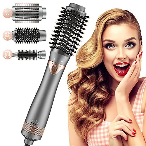 3 In 1 Warmluftbürste Haartrockner Bürste mit 3 Aufsätze, Volumen- und Stylingbürste, Ionen Föhnbürste Set für alle Haartypen