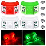 4 Pieces Boat Bow Lights LED Boat Navigation Lights with 5 Pieces Button Batteries for Boat Kayak Pontoon Hovercraft Yacht Motorboat Bike Hunting Night Running Fishing (Red, Green, White)