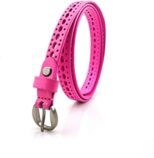Accessories Hollow All-Match Ladies Leisure Belt Head Layer Cowhide Leather Belt (Color : Pink, Size : 100-135CM)