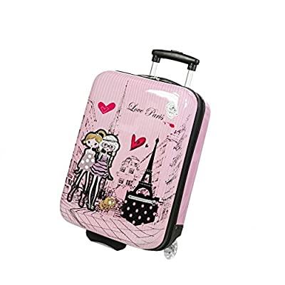 MADISSON - Valise Cabine Enfant/Fille Rose Love Paris ABS 50X33X20CM