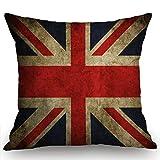 Swono Vintage British Flag Farmhouse Pillow Cover 18x18 Inch Home Decor Cotton Linen Throw Pillow Case Cushion Cover for Sofa Couch