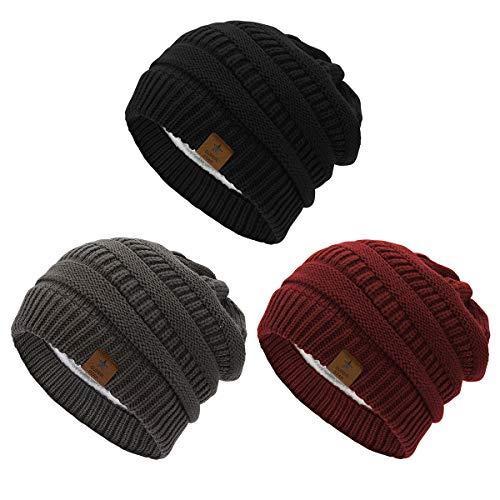 Durio Durio Mütze Damen Winter Strickmütze Grobstrick Warme Beanie mit Innenfutter 3er Set B