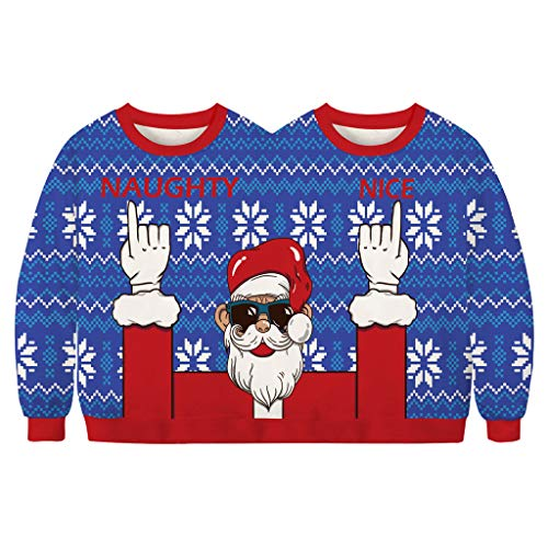 Men's and Women's Two Person Ugly Christmas Sweater - Conjoined Twin Couples Christmas Sweater Novelty Christmas Top