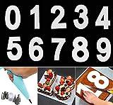 YFWUQI Molde Para Tarta Números 0-9 con Reutilizables Boquillas y Manga Pastelera, Number Cake Mold Para Cumpleaños, Bodas, Aniversario, Crema, Ddecoración, Pastel de Frutas