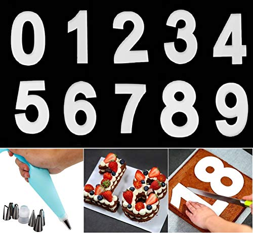 YFWUQI Backform Zahlen 0-9, Zahlen Backformen Kuchenformen mit Tüllen und Spritzbeutel, Number cake Backform Set für, Hochzeit Jahrestag, Obstkuchen, Zuckerguss Creme, Geburtstag