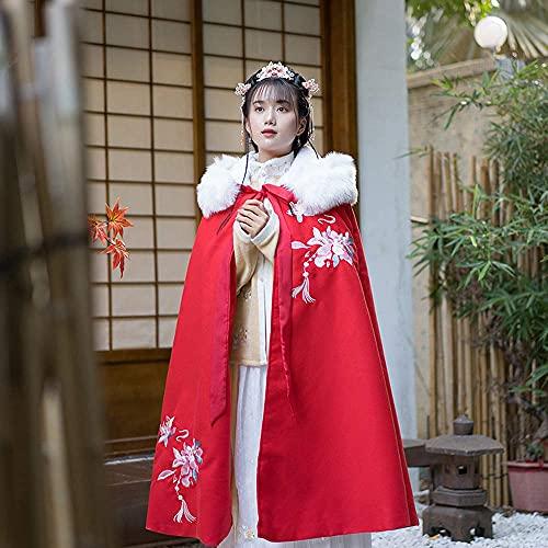 Abrigo vintage de Hanfu para mujer, estilo vintage, chino, cálido, con capucha, bordado, hanfu, rojo