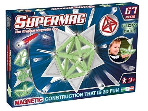 Supermag, LineaTags Glow, Gioco Costruzioni Magnetiche Fluorescenti per Bambini, Barrette Luminose al Buio, 67 Pezzi, Età 3+