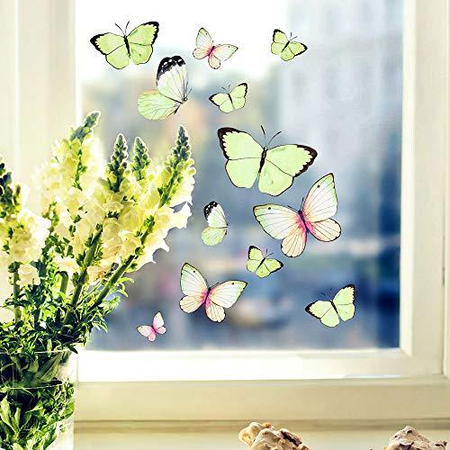 Fensterbilder Fensterbild Schmetterlinge mintgrün wiederverwendbar Frühling Frühlingsdeko Fensterdeko bf56 - ausgewählte Farbe: *bunt* ausgewählte Größe: *3. Schmetterlinge mintgrün*
