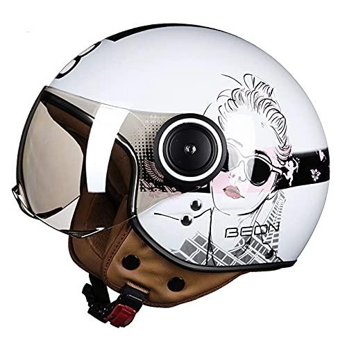 DDH Casco de Motocicleta, Casco Jet, Certificado por ECE y Punto, Casco de Scooter de piloto de Jet Vintage, visores Separados, Incluyendo Beige, m, l, XL-Bright White 2  XL